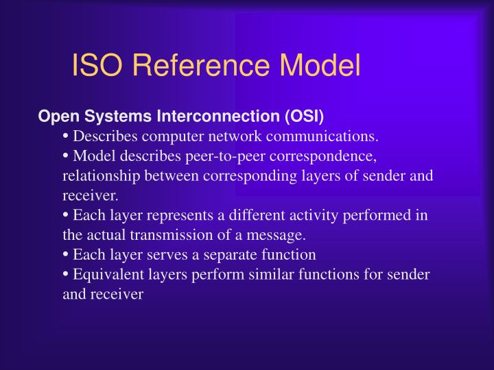 ISO Reference Model