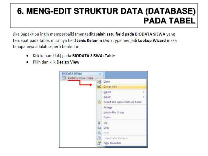 6. MENG-EDIT STRUKTUR DATA (DATABASE) PADA TABEL