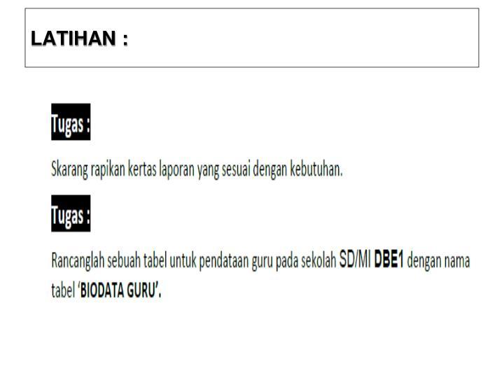 LATIHAN :