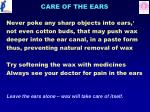 care of the ears