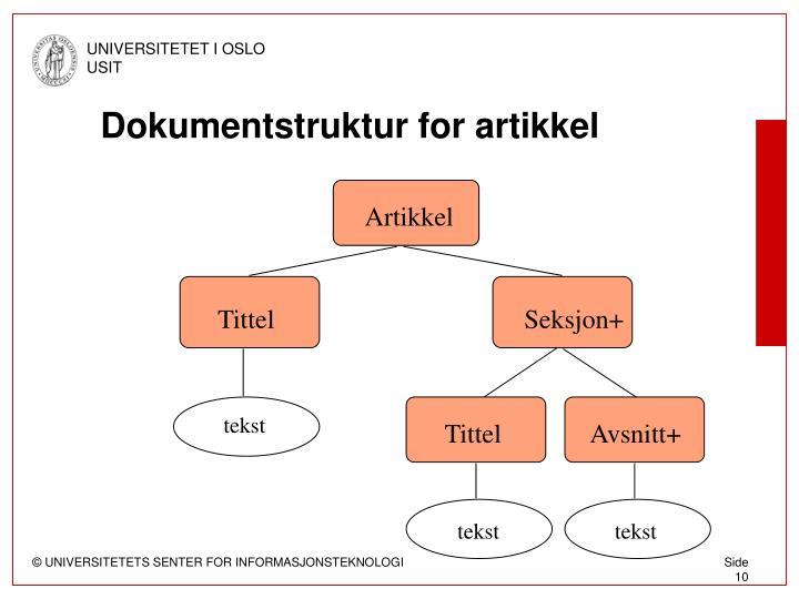 Dokumentstruktur for artikkel