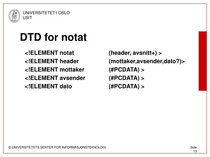DTD for notat