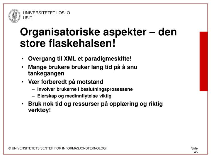 Organisatoriske aspekter – den store flaskehalsen!