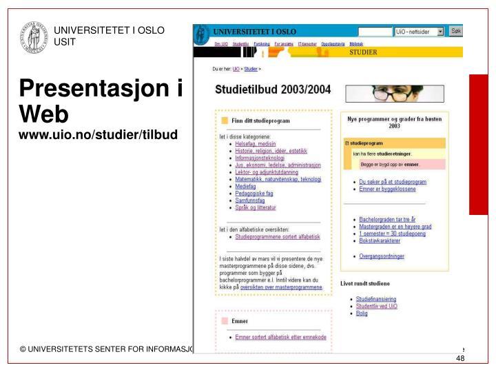Presentasjon i Web