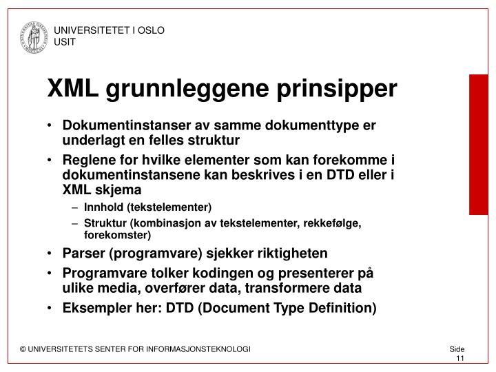 XML grunnleggene prinsipper