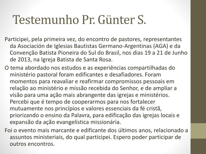 Testemunho Pr. Günter S.