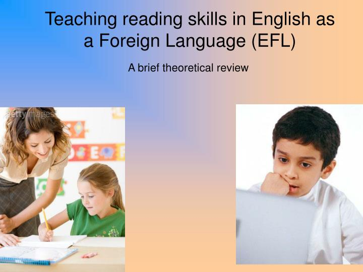 teaching reading skills in english as a foreign language efl n.