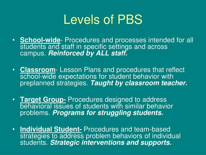 Levels of PBS
