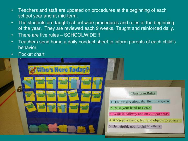 Teachers and staff are updated on procedures at the beginning of each school year and at mid-term.