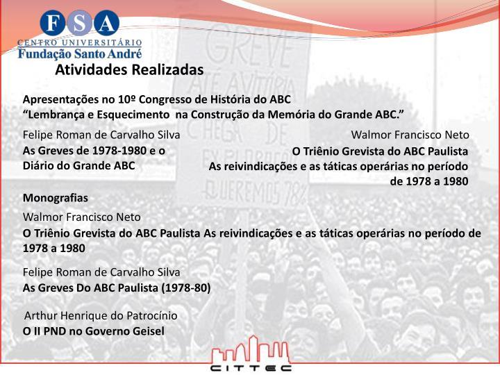 Apresentações no 10º Congresso de História do ABC