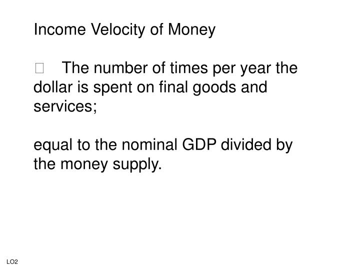 Income Velocity of Money