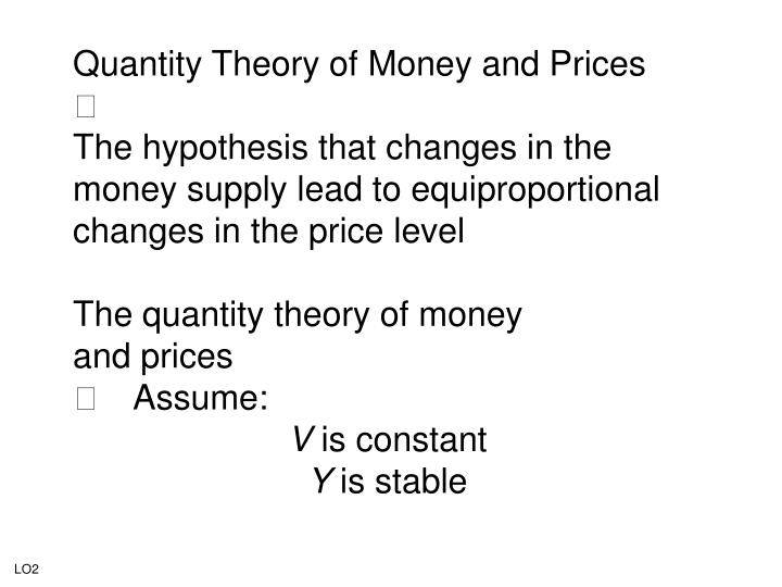 Quantity Theory of Money and Prices