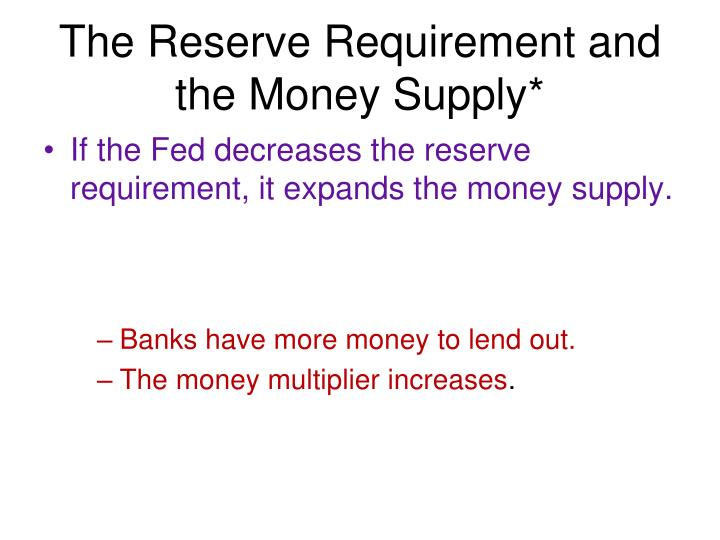 The Reserve Requirement and the Money Supply*