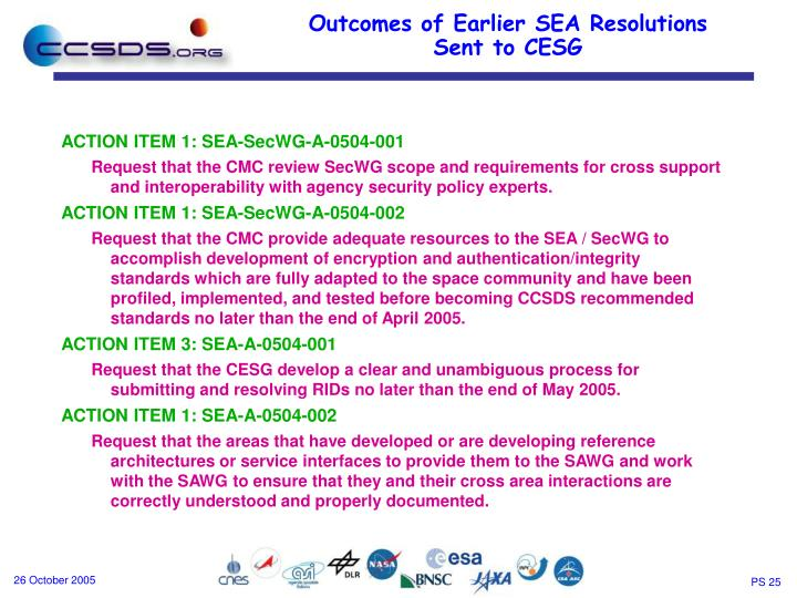 ACTION ITEM 1: SEA-SecWG-A-0504-001