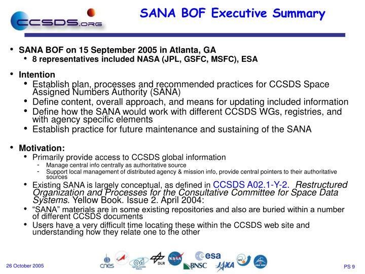 SANA BOF on 15 September 2005 in Atlanta, GA