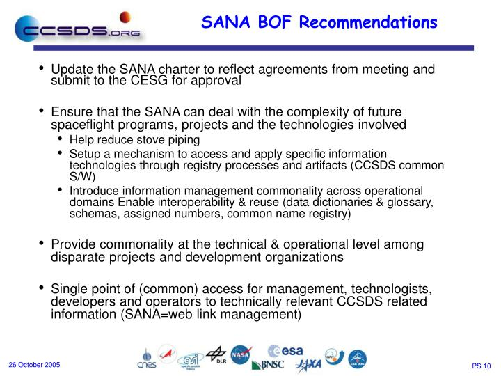 Update the SANA charter to reflect agreements from meeting and submit to the CESG for approval