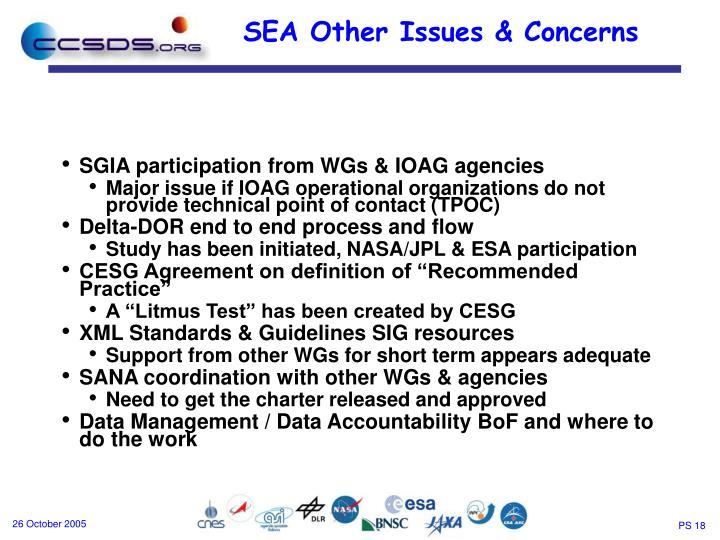SGIA participation from WGs & IOAG agencies