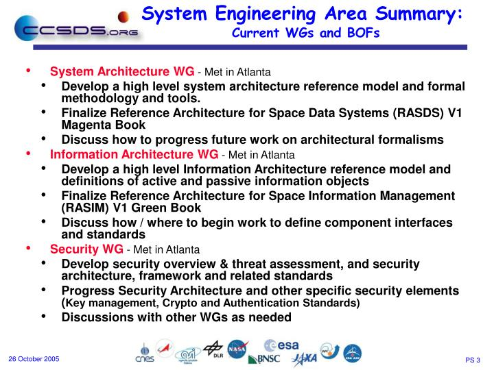 System engineering area summary current wgs and bofs