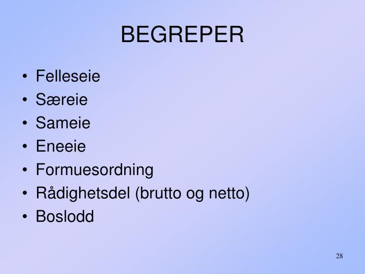 BEGREPER