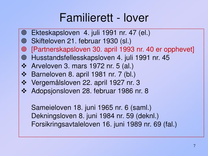 Familierett - lover
