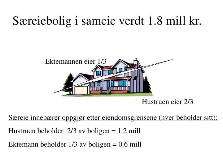 Særeiebolig i sameie verdt 1.8 mill kr.