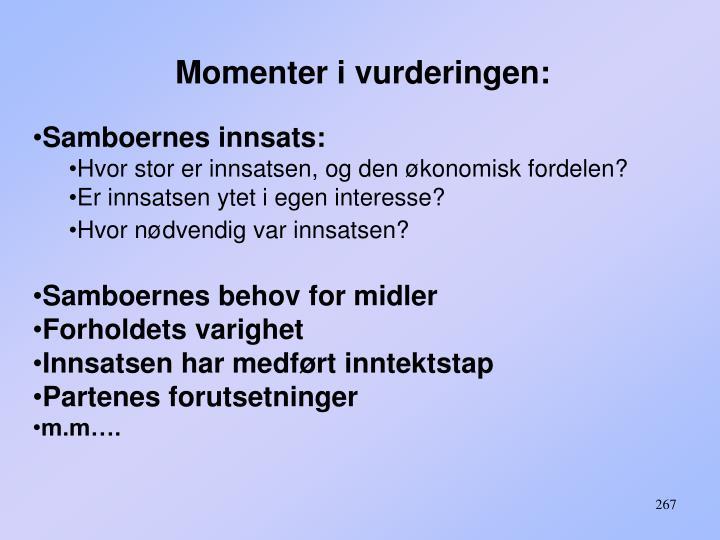 Momenter i vurderingen: