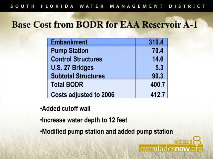 Base Cost from BODR for EAA Reservoir A-1
