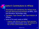author s contributions to hpjava