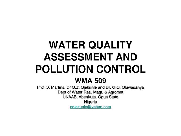 water quality assessment and pollution control n.