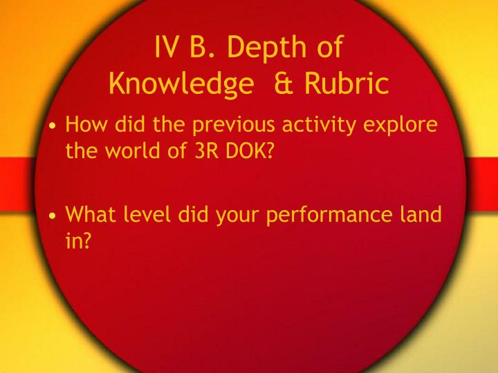 IV B. Depth of Knowledge  & Rubric