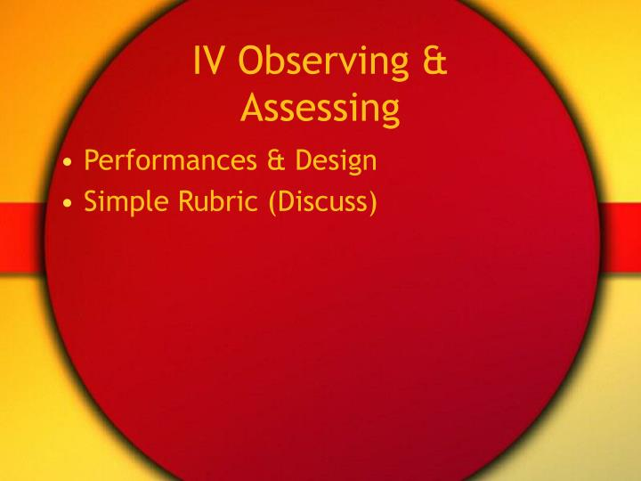 IV Observing & Assessing