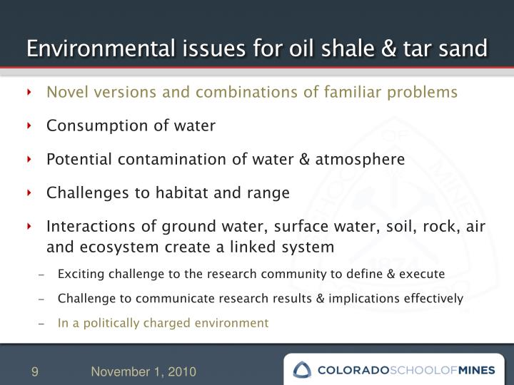 Environmental issues for oil shale & tar sand