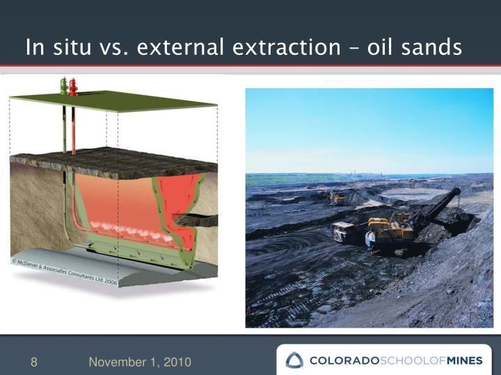 In situ vs. external extraction – oil sands