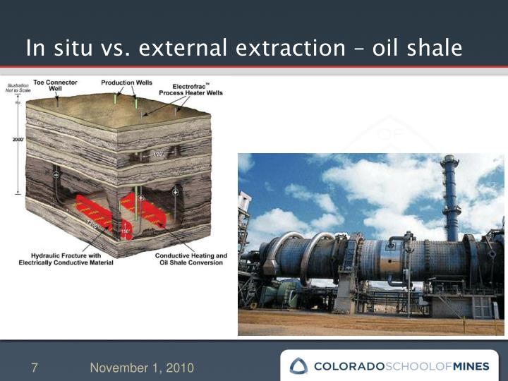 In situ vs. external extraction – oil shale