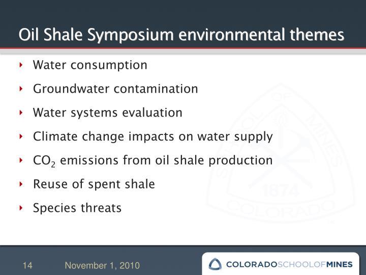 Oil Shale Symposium environmental themes