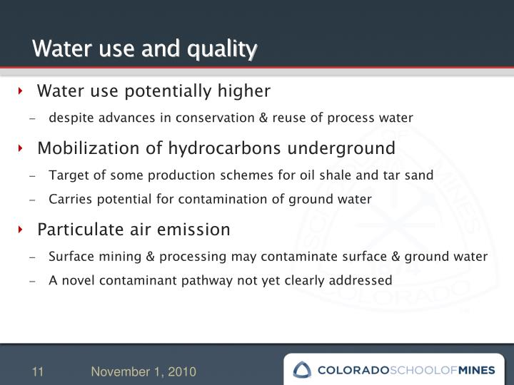 Water use and quality