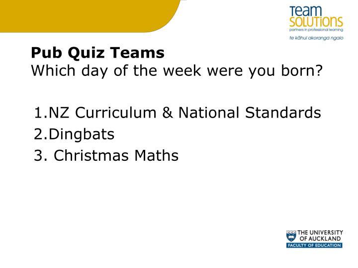 Pub Quiz Teams