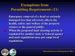 exemptions from permitting requirements 114