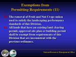 exemptions from permitting requirements 116