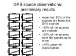 gps source observations preliminary results