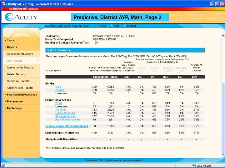 Predictive, District AYP, Math, Page 2