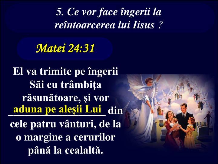 5. Ce vor face îngerii la reîntoarcerea lui Iisus