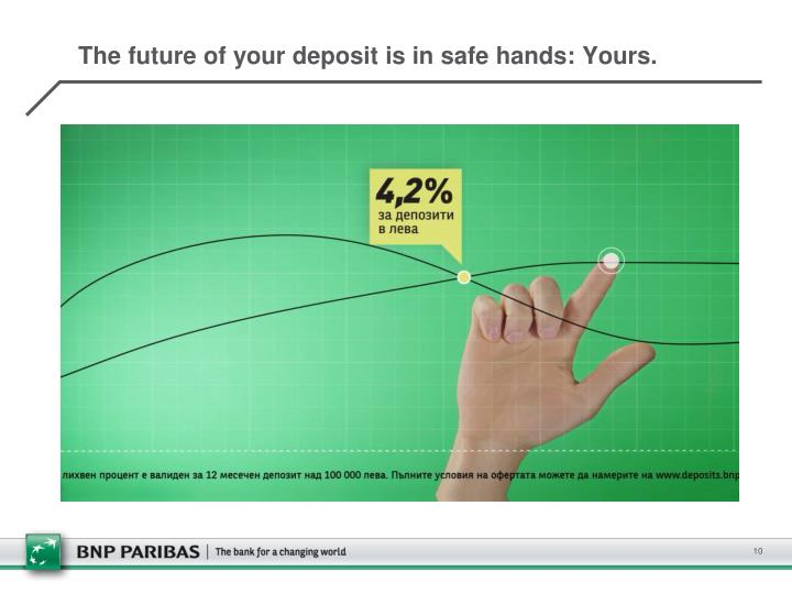 The future of your deposit is in safe hands: Yours.