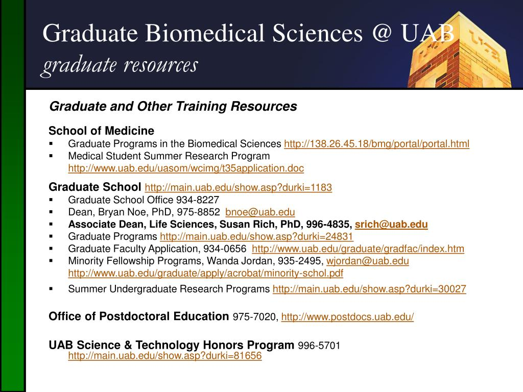 PPT - Graduate Biomedical Sciences Programs at The