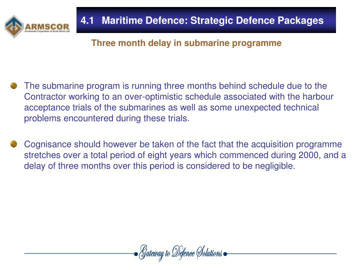 4.1Maritime Defence: Strategic Defence Packages