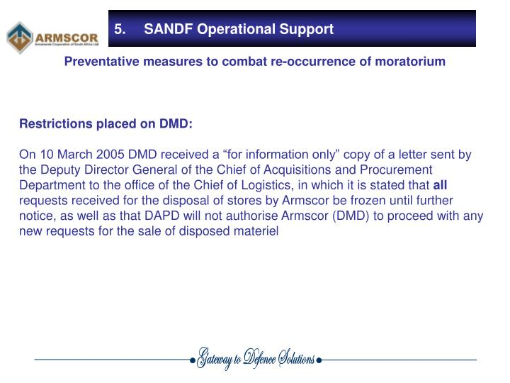 Restrictions placed on DMD:
