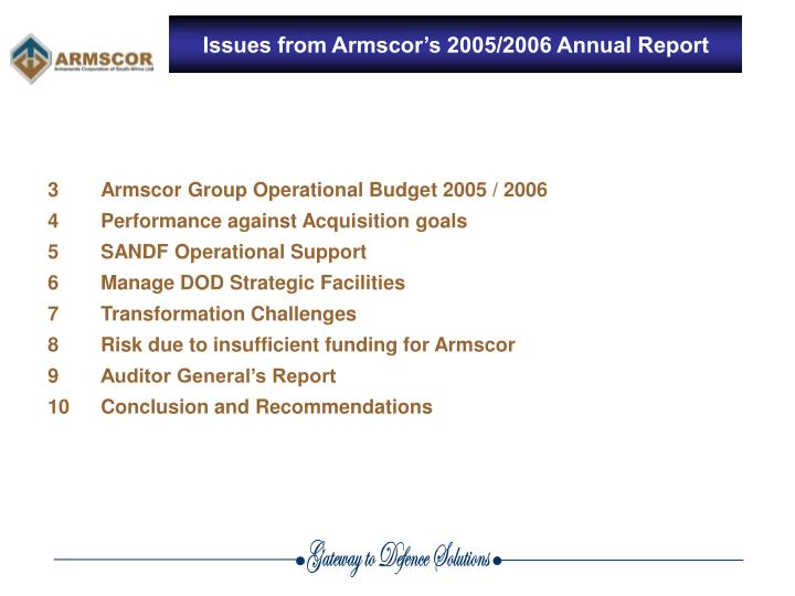 Issues from armscor s 2005 2006 annual report