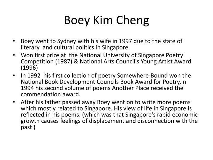the reservist by boey kim cheng Fleur adcock, 'for heidi with blue hair' james k baxter, 'elegy for my father's  father' elizabeth bishop, 'one art' boey kim cheng, 'reservist' emily brontë,.