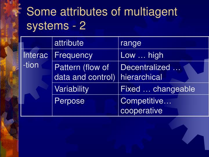 Some attributes of multiagent systems - 2