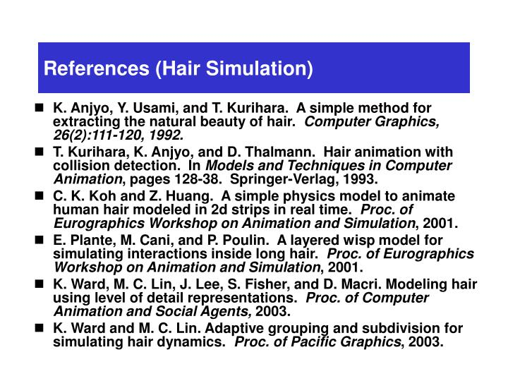 References (Hair Simulation)